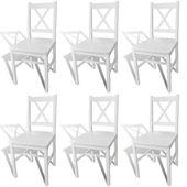 Krzesła do jadalni, 6 szt., drewniane, białe