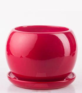 Doniczka Ceramiczna KULA 2 z podstawką czerwona eco