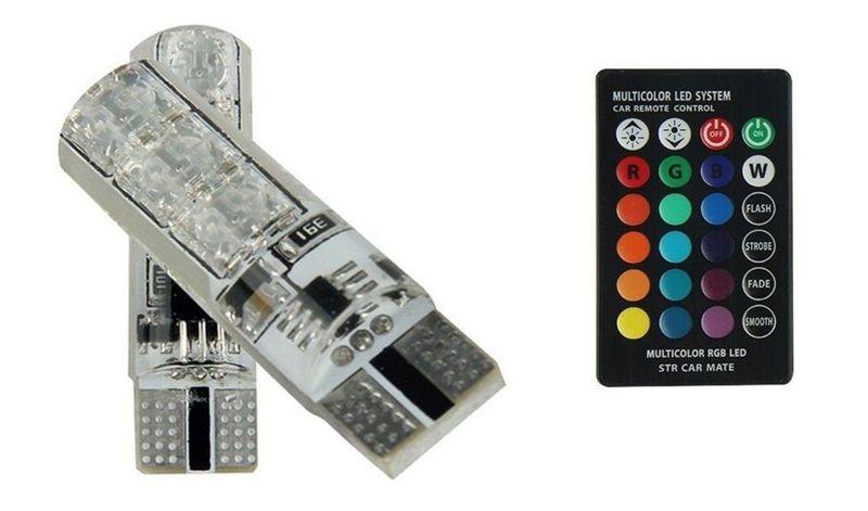 żarówka LED T10 12V RGB CANBUS +pilot zdjęcie 1