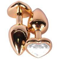 Złoty Korek Analny Serce Z Przejrzystym Kryształkiem Gold Diamond Plug Heart Cristal