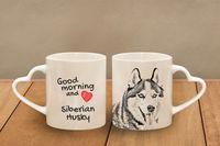 """Husky syberyjski - kubek serce z wizerunkiem psa i napisem """"Good morning and love..."""". Wysokiej jakości kubek ceramiczny"""