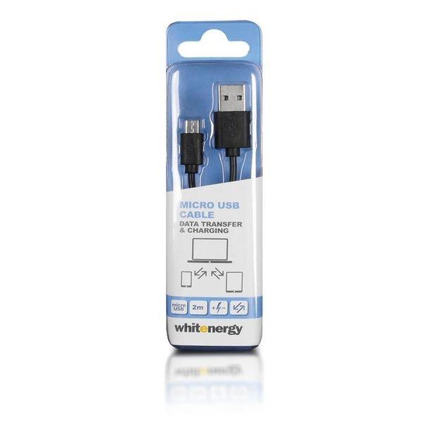 Whitenergy Kabel micro USB transfer ładowanie 200cm czarny zdjęcie 3