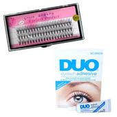Zestaw rzęsy kępki 12mm profil C+klej DUO Clear 9g