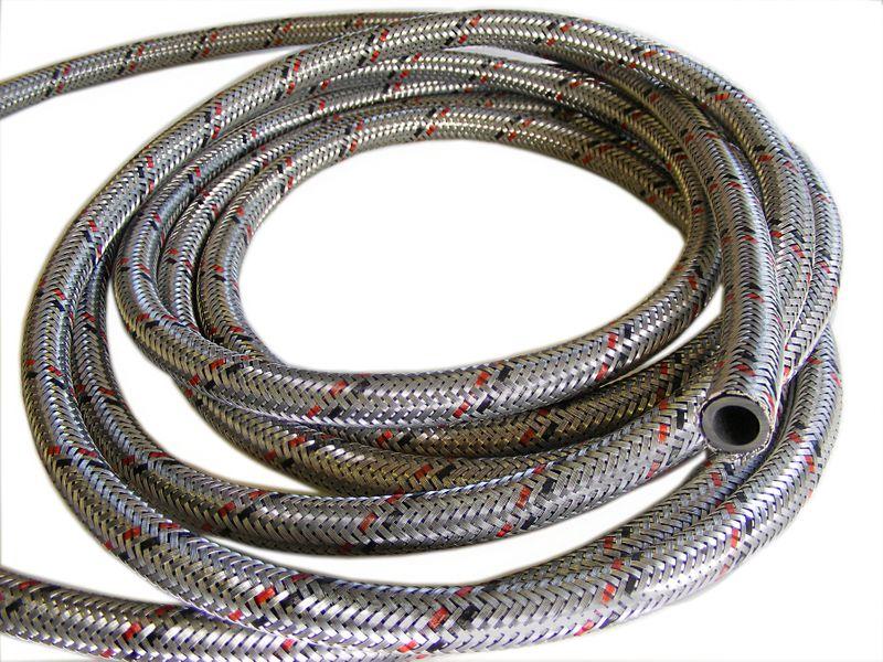 Wąż paliwowy DN06 gumowy z oplotem stalowym, włoski zdjęcie 1