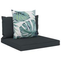 Poduszki na sofę z palet 3 szt. antracytowe tkanina VidaXL