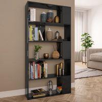 Regał na książki/przegroda, czarny, wysoki połysk, 80x24x159 cm