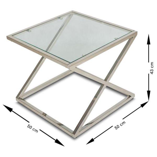 Stoliczek kawowy kwadratowy szkło 8mm chrom ława zdjęcie 2