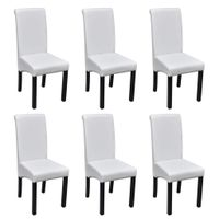 Krzesła stołowe, 6 szt., białe, sztuczna skóra