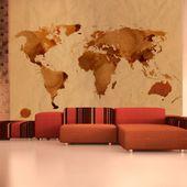 Fototapeta - Herbaciana mapa świata Rozmiar - 350x270