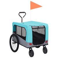 Przyczepka rowerowa 2-w-1 dla zwierząt i do biegania, niebiesk-szara