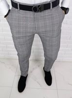 Szare eleganckie spodnie w krate z rozowa wstawka 1331 - 30