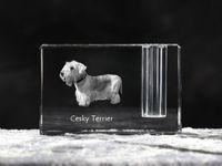 Terier czeski - kryształowy stojak na długopis z wizerunkiem psa, pamiątka, dekoracja, kolekcja.