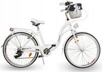 Damski rower miejski ECO DAMKA 28 Catherina biały; Koszyk 7BIEGÓW