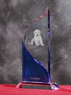 Cockapoo- Kryształowa statuetka z podobizną psa.