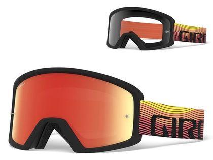 Gogle GIRO BLOK MTB orange heatwave (Szyba kolorowa AMBER xx% S3 + Szyba Przeźroczysta 99% S0) mocowanie pod zrywki (NEW)