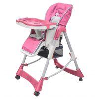 Luksusowe krzesełko do karmienia, regulacja wysokości, różowe