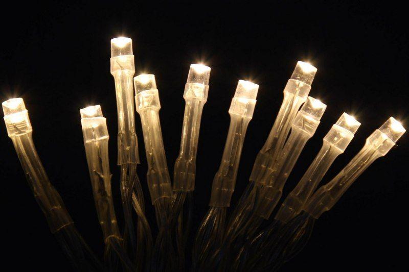 Lampki dekoracyjne choinkowe 100 LED ciepłe białe z programatorem na łańcuchu zdjęcie 1