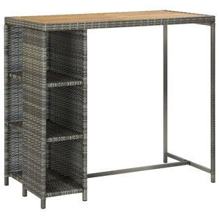 Stolik barowy z półką, szary, 120x60x110 cm, polirattan