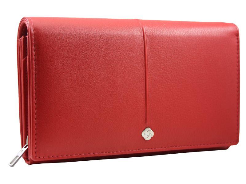 Skórzany, czerwony portfel damski Samsonite RFID zdjęcie 1