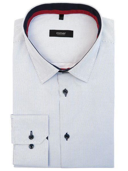 Biała koszula męska w delikatne granatowe prążki 153 NEW  P2KWv