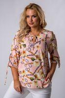 Wzorzysta bluzka z ozdobnym wiązniem przy szyi i przy mankietach - Różowy 48