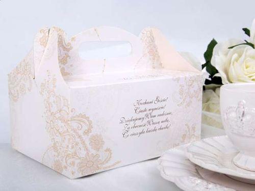 Eleganckie pudełka na ciasto weselne złote wierszy na Arena.pl