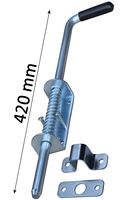 Rygiel do bramy, ze sprężyną, długość 420 mm, podstawa szerokości 40mm