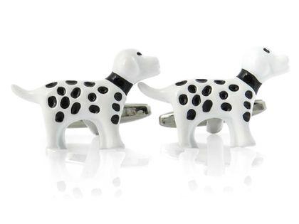 Białe spinki do mankietów psy, dalmatyńczyki A210