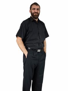 48/49 - 4XL Elegancka czarna koszula męska krótki rękaw duże rozmiary