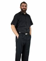 52/53 - 8XL Elegancka czarna koszula męska krótki rękaw duże rozmiary