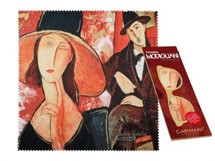 Ściereczka do okularów - A. Modigliani, Kobieta w kapeluszu i Mario Varvogli (CARMANI)