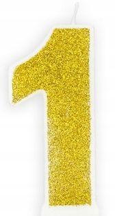 Świeczka na tort cyferka 1 złota brokatowa Roczek