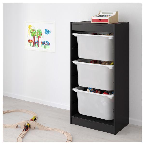 Ikea Trofast Regał Na Zabawki 3 Pojemniki Czarnybiały