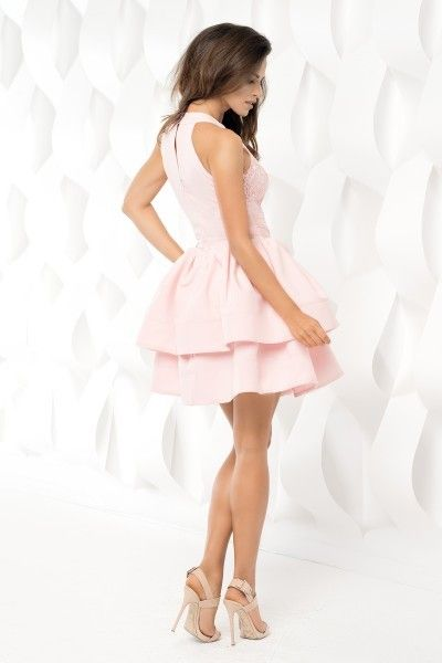 894c34bb84 Rozkloszowana sukienka z falbankami - bez ramiączek - pudrowy róż Rozmiar -  M zdjęcie 3