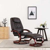 Rozkładany fotel z podnóżkiem, brązowy, sztuczna skóra