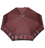 Mocna automatyczna parasolka damska marki Parasol, brązowa w róże