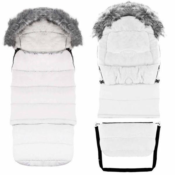 Śpiworek do wózka 4w1, śpiwór z futerkiem do sanek, gondoli z torbą 120 cm jasny popiel na Arena.pl
