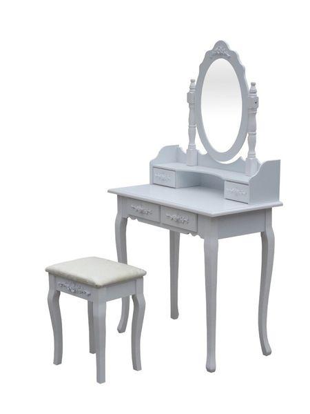 Drewniana Toaletka Kosmetyczna Z Lustrem Taboret Arenapl