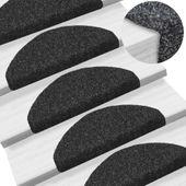 Samoprzylepne nakładki na schody, 15 szt., 65x21x4 cm, czarne