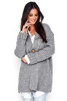 Sweter Kardigan Model NU_S66 Grey Melange - Numinou  Uniwersalny
