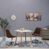 Krzesła na kółkach do jadalni, 2 szt., tkanina, brązowe