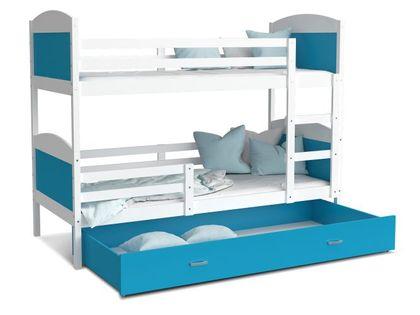 Łóżko piętrowe MATEUSZ 190x80  szuflada + materace
