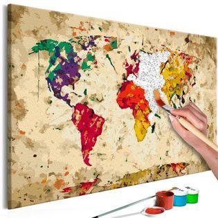 Obraz do samodzielnego malowania - Mapa świata (plamy barwne)