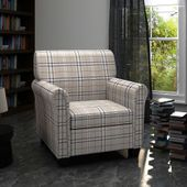 Fotel materiałowy z poduchą na siedzisku, kremowy