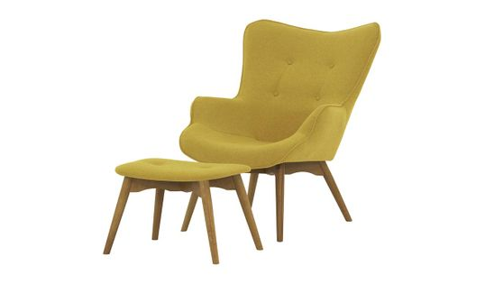 Fotel uszak z podnóżkiem Ducon Ontario 40 żółty, nogi jasny dąb