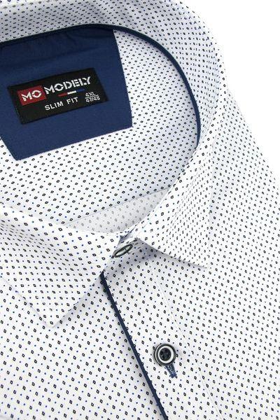 Duża Koszula Męska Modely biała we wzorki na krótki rękaw Duże rozmiary K820 6XL 50 182/188 zdjęcie 2
