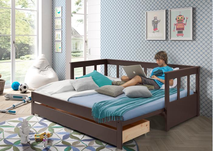 Kapitańskie łóżko Dla Dzieci Z Dostawką Sofa Pino Ii Taupe