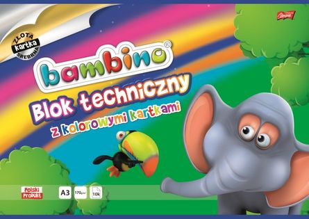 Blok techniczny A3 kolorowy BAMBINO 10 kartek 170g