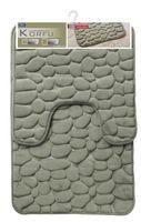 Dywaniki łazienkowe KORFU kpl. 2 el. 70x48cm i 48x48cm oliwkowy wypukły wzór kamienie