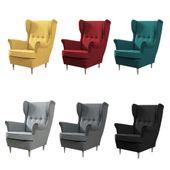 Fotel uszak pikowany Nóżki drewno - 8 kolorów